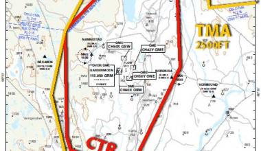 Gardermoen CTR og omliggende OSLO TMA 2500FT